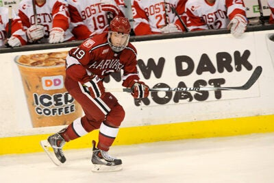 To gain a one-game advantage over Yale in the ECAC quarterfinals, Jimmy Vesey '16 slammed the winner home for his 26th goal of the season. Vesey, who played against BU in the Beanpot (pictured), was named Ivy League Player of the Year.