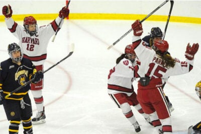 Harvard cruised by Quinnipiac for the fourth time this season to reach the Frozen Four.