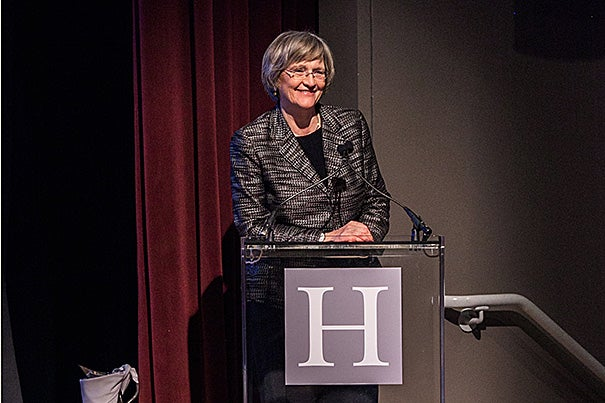Harvard President Drew Faust delivered opening remarks at Your Harvard: Seattle at the Seattle Art Museum.