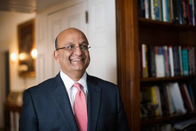 Harvard Business School Dean Nitin Nohria is pictured in his home on the campus of HBS at Harvard University. Stephanie Mitchell/Harvard Staff Photographer