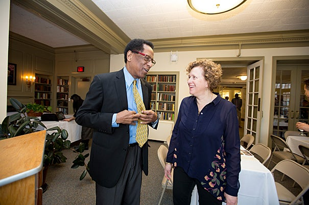Professor of Astronomy Alyssa A. Goodman was named the Harvard Foundation's 2015 Scientist of the Year. S. Allen Counter Jr., director of the Harvard Foundation (left), presented the award in the Hastings Room at Pforzheimer House.