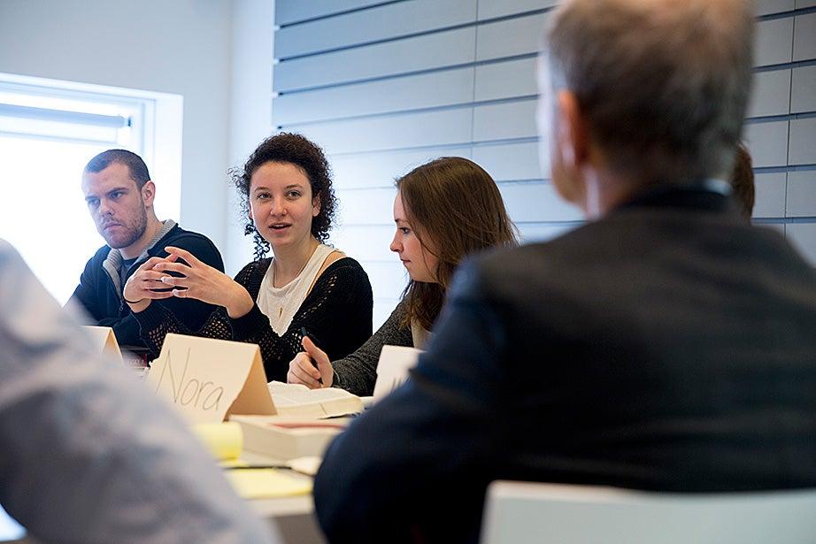 Aaron Suduiko '17, Claire Benoit '17, and Nora Sagal '18 discuss Dostoyevsky inside Greenblatt's museum classroom.