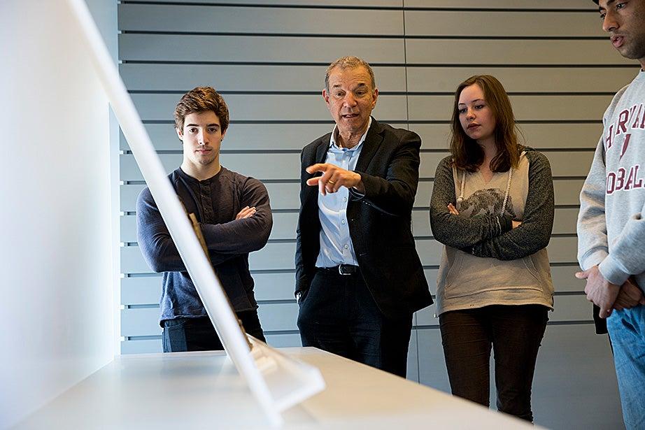 Matt Ricotta '15 (left) and Nora Sagal '18 listen as Stephen Greenblatt talks about art.