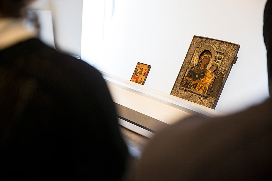 "Students get a close-up look at ""Birth of John the Baptist"" 1475-1500, and ""Madonna and Child Holding Dove,"" late 16th century, by unidentified artists."
