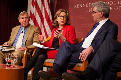 As negotiators worked beyond a deadline, experts at Harvard Kennedy School considered the possible outcomes of a deal, or no deal, with Iran over nuclear materials. Among the panelists were Belfer Center Director Graham Allison (from left), former U.S. Sen. Kay R. Hagan, and Gary Samore, executive director for research at the Belfer Center for Science and International Affairs.