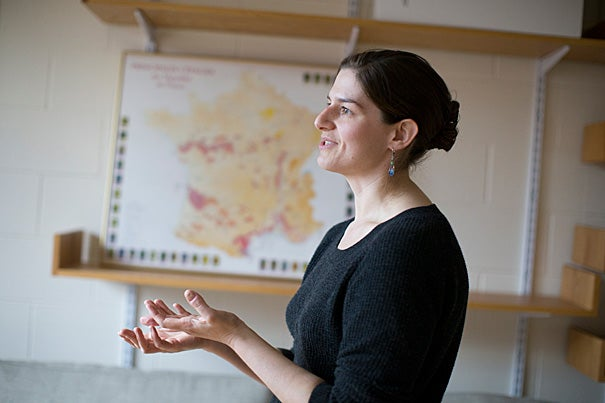Elizabeth Wolkovich is an assistant professor of organismic and evolutionary biology and also a wine lover who is working today to better understand wine grape phenology and changes that might be needed in a warming world.