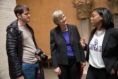 "President Drew Faust speaks with ""Humans of New York"" founder Brandon Stanton and Mott Hall Bridges Academy Principal Nadia Lopez."