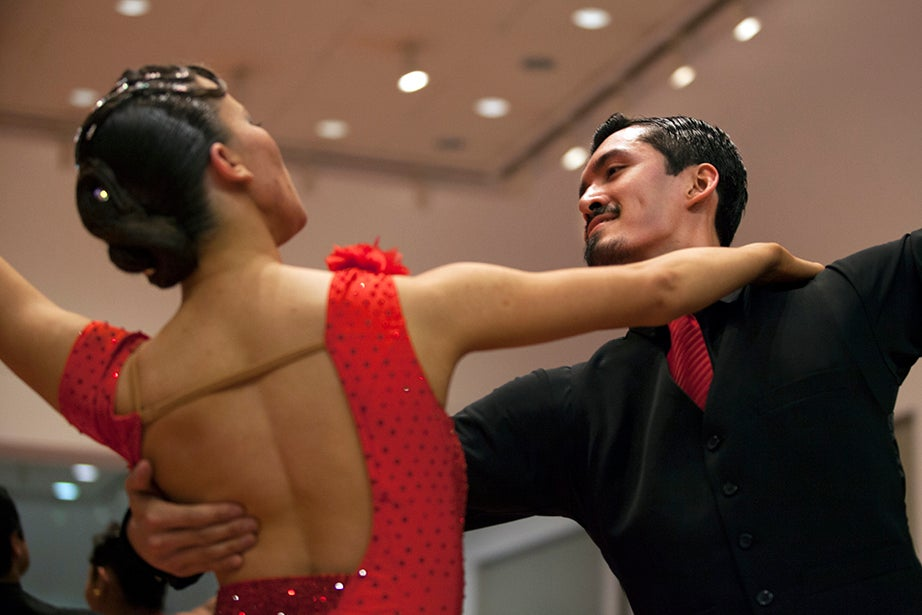 Zoe Destories and her partner, Robert Krabek, represent Harvard during the competition.