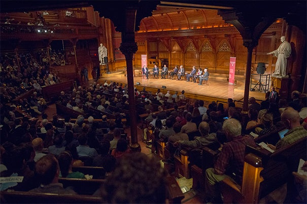 With Charlie Rose as moderator, a panel of experts in science, politics, business, economics, and history shared their views during Monday's Presidential Panel on Climate Change at Sanders Theatre.