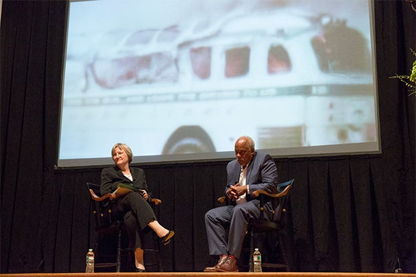 """""""We weren't trying to give you any kind of new information. We were trying to give you a sense of the feeling of that summer and how people felt when the bodies were discovered,"""" said Stanley Nelson  Jr., following an excerpt from his film """"Freedom Summer."""" President Drew Faust took part in a Q&A session with Nelson during the final  William Belden Noble Lecture last night at Memorial Church."""