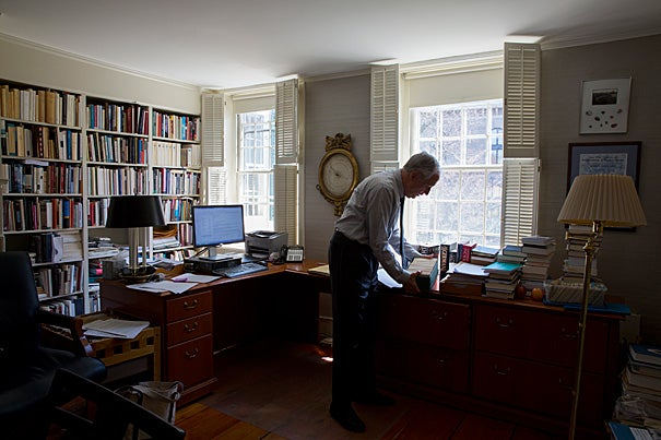 """If I could characterize what I've done since 2007 in one word, it would be 'openness' ― to open up Harvard to the world. Knowledge should be seen as a natural resource,"" said outgoing Carl H. Pforzheimer University Professor and University Librarian Robert Darnton."