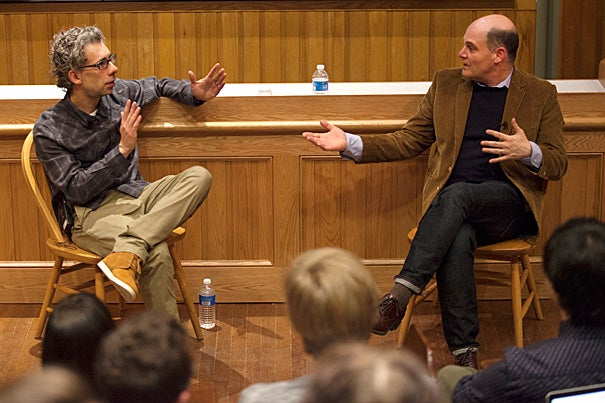 """????'Is this it?' and 'What's wrong with me?' These two questions are at the heart of the show,"""" said """"Mad Men"""" creator and head writer Matthew Weiner (right) during a LITFest-sponsored conversation with Director of Creative Writing Bret Anthony Johnston."""