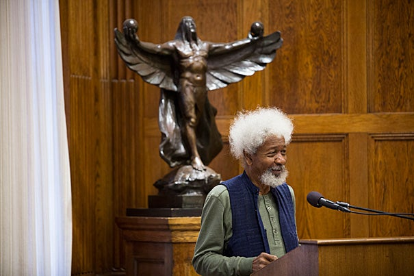 Wole Soyinka, a former political prisoner who became in 1986 the first black African to win the Nobel Prize in literature, spoke at the Barker Center in the wake of a historic vote in Nigeria.