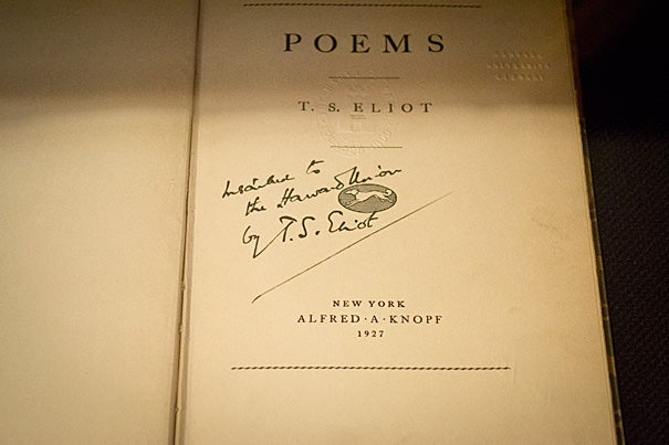 April is National Poetry Month, though at Harvard every month could be. This book of poems is signed by T.S. Eliot, who graduated from Harvard in 1909. Photo by Thomas Earle