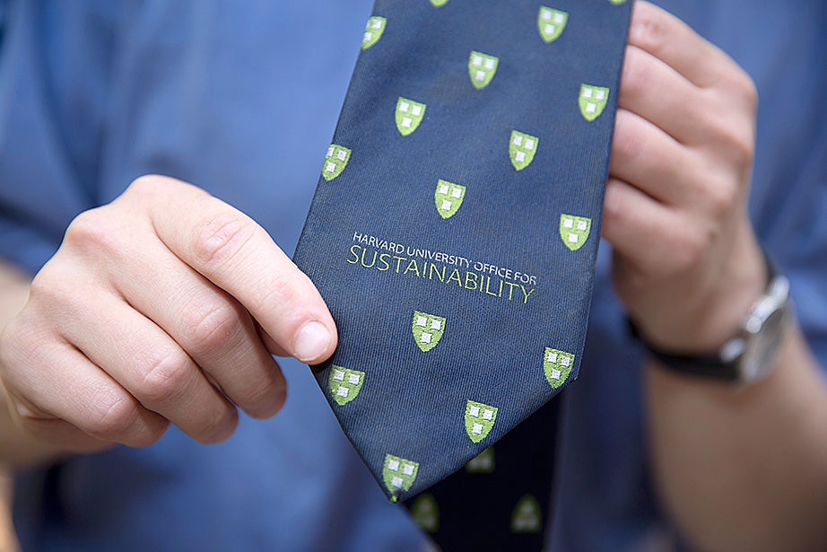 FAS Green Program Manager Brandon Geller shows off his tie outside the 46 Blackstone Building at Harvard University. Kris Snibbe/Harvard Staff Photographer