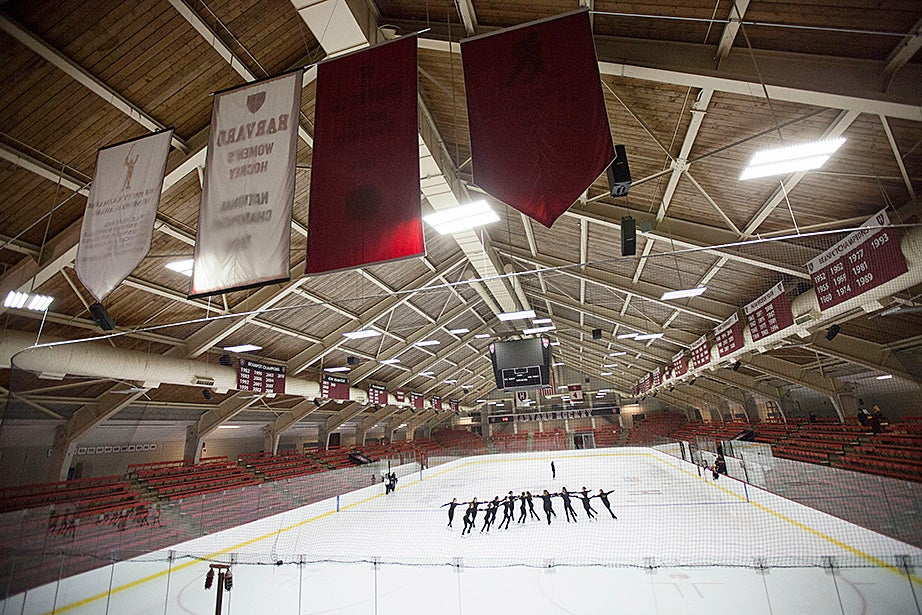 Athletics Facilities Manager Jason Waldron tours the Bright Hockey Center, where the University's Green Revolving Fund was used to convert the lights to super-efficient LEDs to save maintenance costs and energy. Kris Snibbe/Harvard Staff Photographer