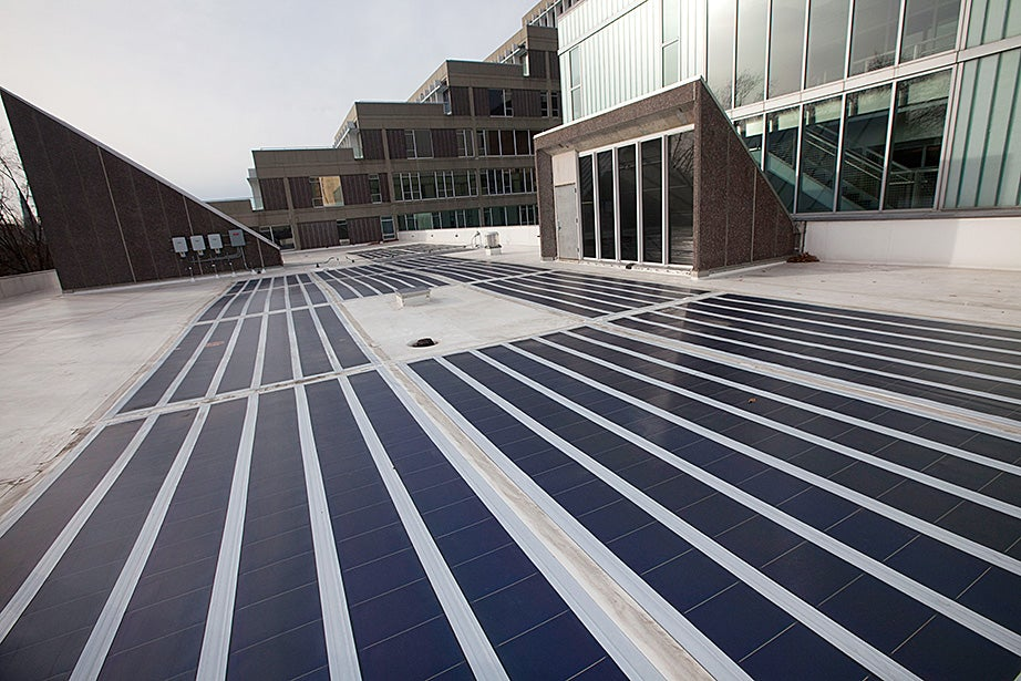 Solar panels grace the roof of the Science Center at Harvard. Kris Snibbe/Harvard Staff Photographer