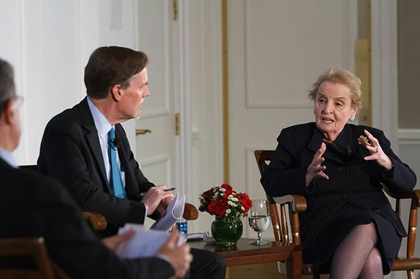 """""""Personal relationships do ease things a lot,"""" said former U.S. Secretary of State Madeleine Albright in conversation with the Harvard Kennedy School's Nicholas Burns (left), one of the three faculty directors of the American Secretaries of State Project. Not pictured are Harvard Law School's Robert Mnookin and Harvard Business School's James Sebenius."""