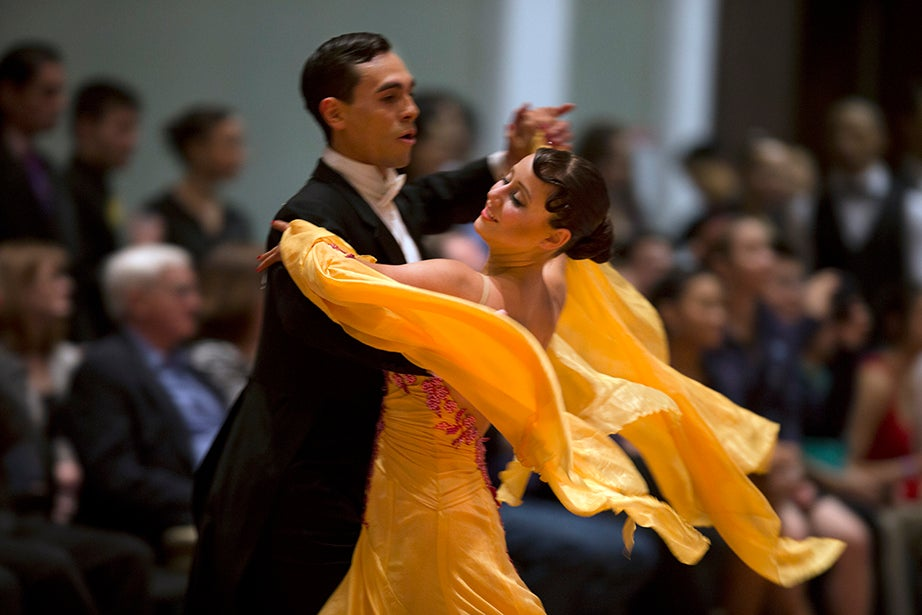 Daniel Montana of the Massachusetts Institute of Technology dances with Harvard's Leila Hofer during the 24th annual Harvard Invitational Competition.