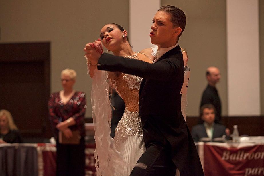 Alexandra Borkov and Daniel Popovsky, from Dance Fever Studios of Newton, Mass., perform.