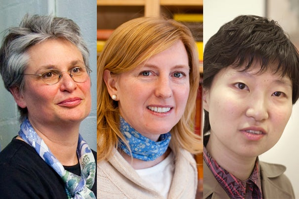 Catherine Dulac (from left), Hopi Hoekstra, and Xiaowei Zhuang have received National Academy of Sciences awards.