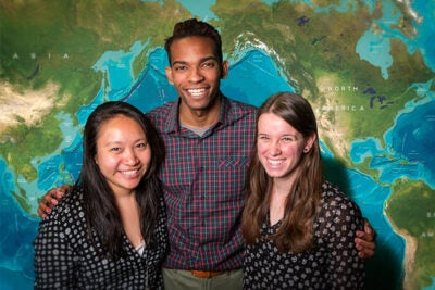 Four 2015 Fulbright Scholars from Harvard School of Engineering and Applied Sciences have been named: Joy Ming (from left), who will conduct research in India; Tyreke White, who will teach in Poland; Amanda Reilly, who will work in Colombia; and Emily Savage (not pictured), who will teach English in Taiwan.