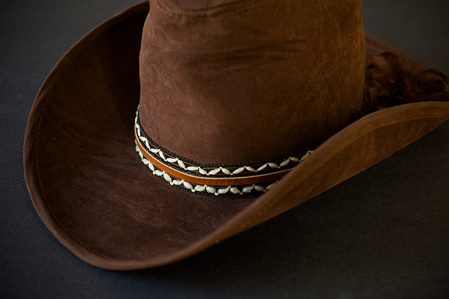 A dark brown suede cowboy hat, signature headgear of lawyer, feminist, and civil rights activist Florynce Kennedy, 1916-2000. (Schlesinger Library)