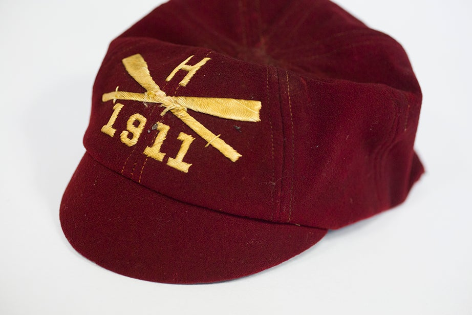 A red crew hat owned by Henry Forster, Class of 1911. (Harvard University Archives)
