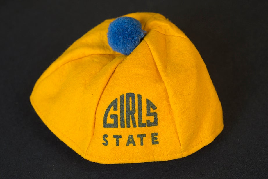 American Legion Auxiliary Girls State Hat, from the collection of American activist Charlotte Bunch. (Schlesinger Library)