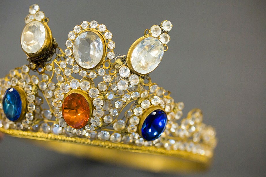 """A paste-jewelry tiara worn by famed nineteenth-century actress Leonora Bradley in an 1891 production of """"Jeanne d'Arc,"""" Harvard Theatre Collection. (Houghton Library)"""