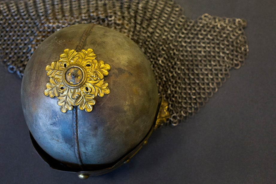 """A Harvard Theatre Collection helmet used by the actress Julia Arthur in a 1924 production of George Bernard Shaw's """"Saint Joan."""" The touring role, over two seasons (1924-1926), was her last, after a career that began in 1879. (Houghton Library)"""