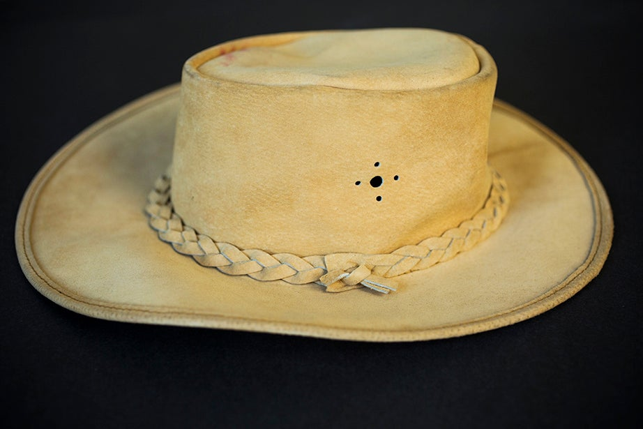 A tan suede cowboy hat worn by Florynce Kennedy. (Schlesinger Library)