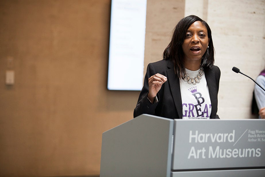 Mott Hall Bridges Academy principal Nadia L. Lopez addresses the crowd. Stephanie Mitchell/Harvard Staff Photographer
