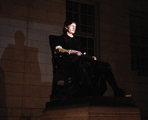 """""""John Harvard Projection"""" will animate the John Harvard Statue with the voices, gestures and images of Harvard students."""