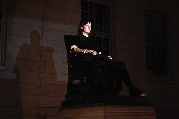 """John Harvard Projection"" will animate the John Harvard Statue with the voices, gestures and images of Harvard students."