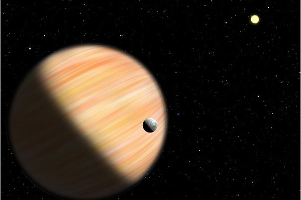 An artist's conception shows a planet half as massive as Jupiter located 13,000 light-years from Earth. It was detected by the Optical Gravitational Lensing Experiment and NASA's Spitzer Space Telescope using microlensing.