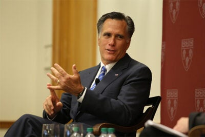 "Mitt Romney was asked by Dean Martha Minow if he ever draws on anything he learned at Harvard Law School. ""Yes — argument,"" Romney replied, to laughter from the more than 350 students in the audience on Friday."