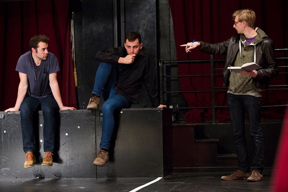 Actors Max McGillivray '15 (from left) and David Sheynberg '16 take direction from Sam Richman '15 during their directing class. Stephanie Mitchell/Harvard Staff Photographer