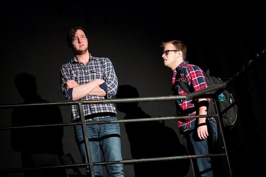 Matt Bialo '16 (left) and Derek Speedy '18 perform a scene. Stephanie Mitchell/Harvard Staff Photographer