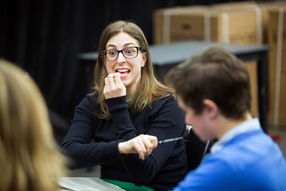 Shira Milikowsky, resident director and lecturer on dramatic arts, makes a point to her class. Jon Chase/Harvard Staff Photographer