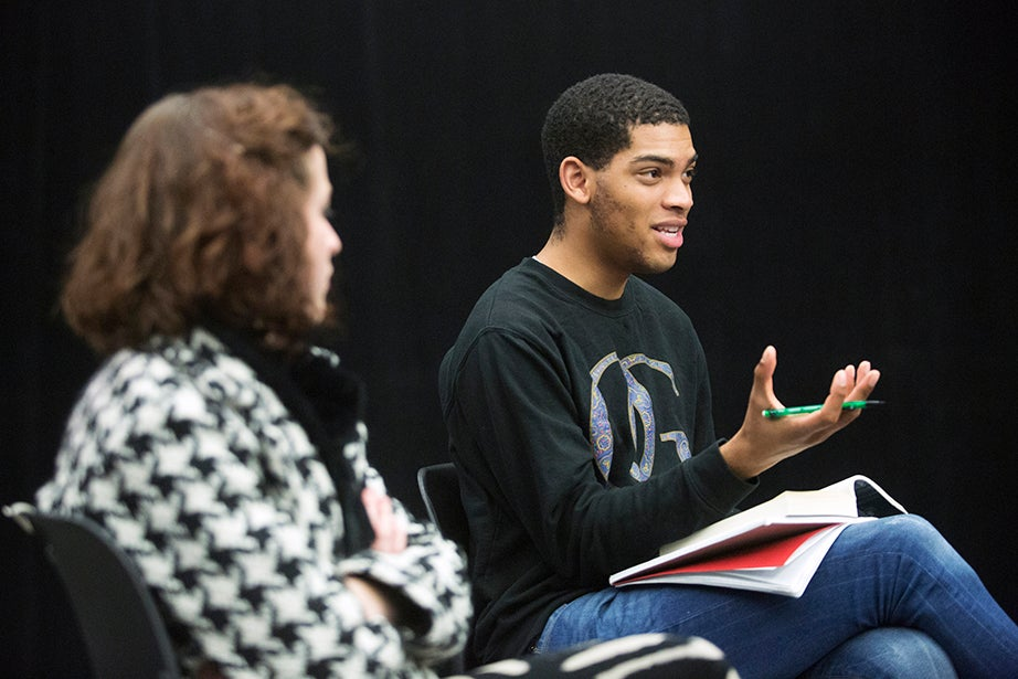 Garrett Allen '16 speaks during directing class. Jon Chase/Harvard Staff Photographer