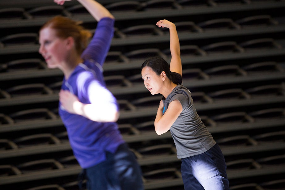 Jill Johnson (left) and Sze Ping Phua rehearse. Stephanie Mitchell/Harvard Staff Photographer