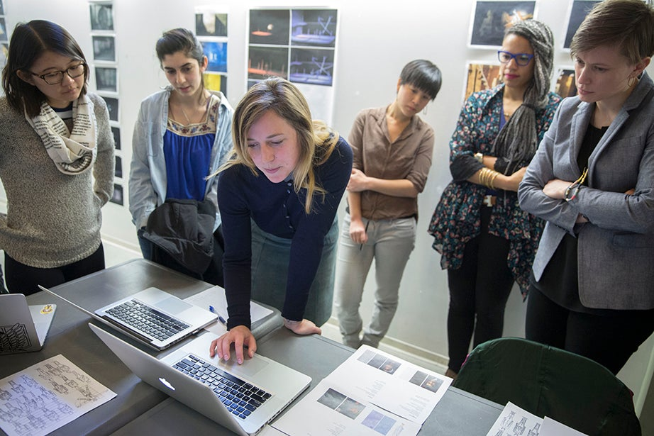 "Guan-Yue Chen '17 (from left), Chrissy Rodriguez '15, Harvard Graduate School of Design (GSD) students Stephanie Hsia, Lara Mehling, and Shaunta Butler, and instructor Sara Brown during a critique of student projects in ""Dramatic Arts 136: Scenography Studio."" Kris Snibbe/Harvard Staff Photographer"