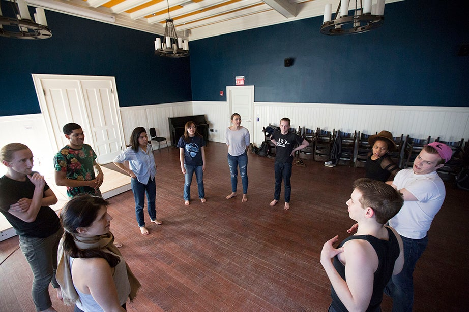 "Students in ""Dramatic Arts: Acting and Authenticity"" prepare as guest teacher Olivia D'Ambrosio (bottom left) observes. Kris Snibbe/Harvard Staff Photographer"