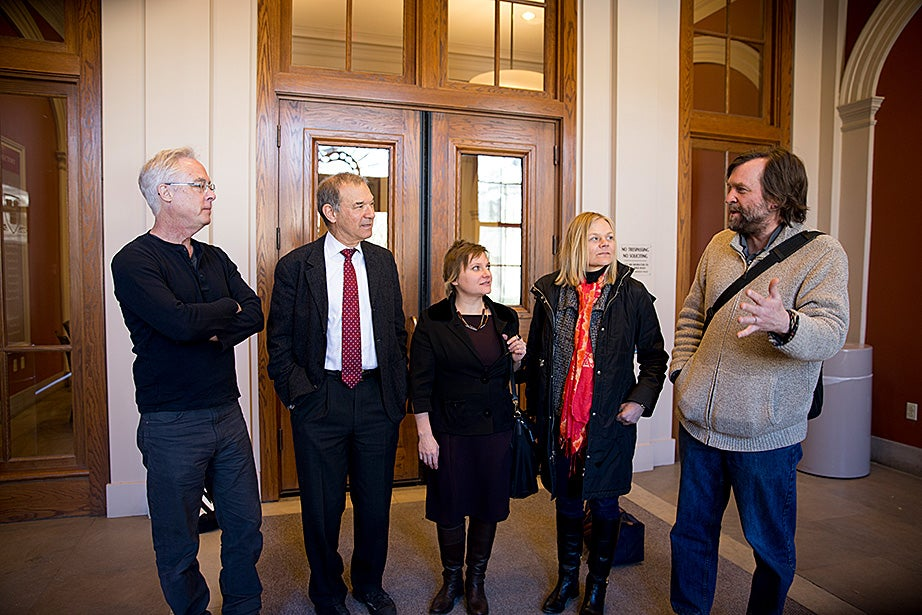 "Professors Louis Menand (from left), Stephen Greenblatt, Katharina Piechocki, Emma Dench, and Ned Hall meet each Monday over lunch to discuss the upcoming weekly lecture for their class, ""The Humanities Colloquium: Essential Works 2."""