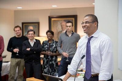 The Harvard Economics Department celebrates Roland Fryer, Henry Lee Professor of Economics, the newest winner of the John Bates Clark Medal  at Harvard University. Kris Snibbe/Harvard Staff Photographer