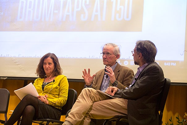 """Harvard's Lawrence Buell (center) called """"Drum-Taps"""" Whitman's """"first attempt to cut lose from 'Leaves of Grass' and do something else."""" The Humanities Center panel also featured Powell M. Cabot Professor of American Literature Elisa New (left) and Fordham University English Professor Lawrence Kramer (right)."""