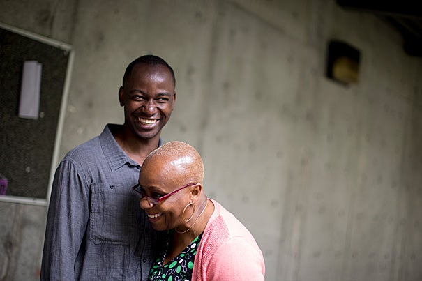 """""""I spent five years at Roxbury Community College. It should be a two-year program,"""" said Afam Nduaguba, pictured here with Chiso Okafor, Nduaguba's mentor and the interim dean of professional studies and career services at RCC. Nduaguba eventually earned a bachelor's from UMass Boston before applying, and being accepted, to Harvard Medical School."""