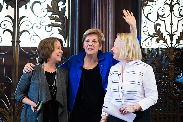 Three of Wall Street's toughest critics — Sheila Bair (from left), Sen. Elizabeth Warren, and Mary Schapiro — came to Harvard to talk about gender and taking on what's been called America's ultimate boys' club.