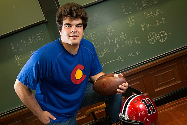 """Basically, I thought I had to decide between playing football and getting the degree I wanted. But here, I was able to do both,"" said Michael Mancinelli '15, an electrical engineering concentrator with a secondary in astrophysics."